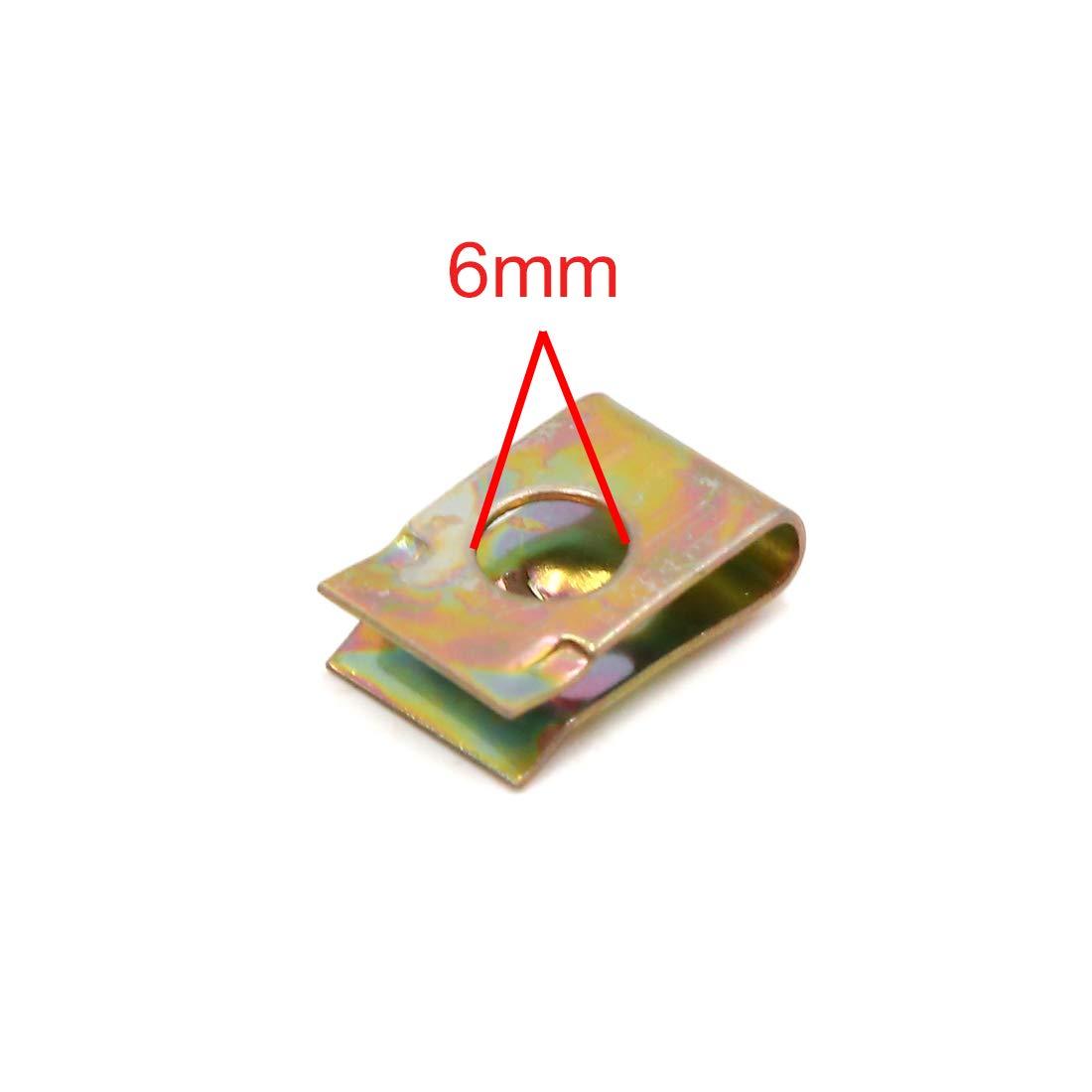 sourcing map 40Pcs ton bronze m/étal vis car/énage moto vitesse type U-clip fix/é