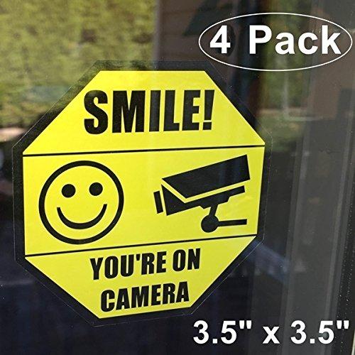 "Front Self Adhesive Vinyl Outdoor/Indoor (4 Pack) 3.5"" X 3.5"" Home Business SMILE YOU'RE ON CAMERA Yellow Window Door Warning Sign Security Alert Sticker Decals"