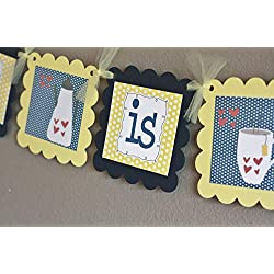 "Navy Yellow Polka Dot""Love is Brewing"" Coffee or Beer Theme Wedding Shower Bridal Shower Banner - Party Packages & Favor Tags, Door Sign, Centerpieces Avail"