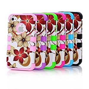 JOE Hawaii Flower Pattern Heavy Duty Hybrid Hard Case Cover with Shockproof Full Body for iPhone 4/4S , Pink