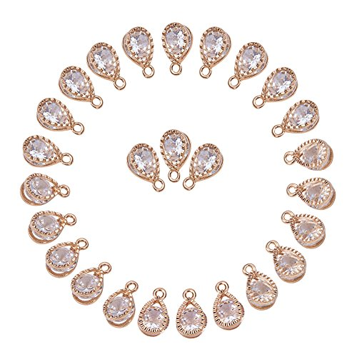 PH PandaHall 1Bag About 100 Pcs Cubic Zirconia Alloy Drop Shape Charms Sets for Jewelry Making Size 13x8x6mm KC ()