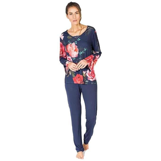 MASSANA Pijama de Mujer Estampado Flores P681242 - Marino, XL