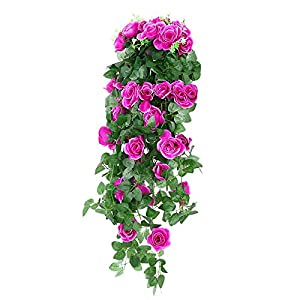 Wenyujh Artificial Rose Garland Wall Hanging Silk Flowers Rattan Ivy Vine for Wedding Party Garden Decoration 46