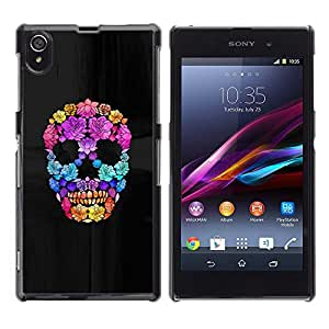 Shell-Star Art & Design plastique dur Coque de protection rigide pour Cas Case pour Sony Xperia Z1 / L39H / C6902 / C6903 / C6906 / C6916 / C6943 ( Flowers Spring Deep Meaning Skull )