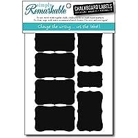 TheFound Chalkboard Labels//Chalkboard Stickers,Fancy Rectangle 36 PCS, Black 2 Set of 36