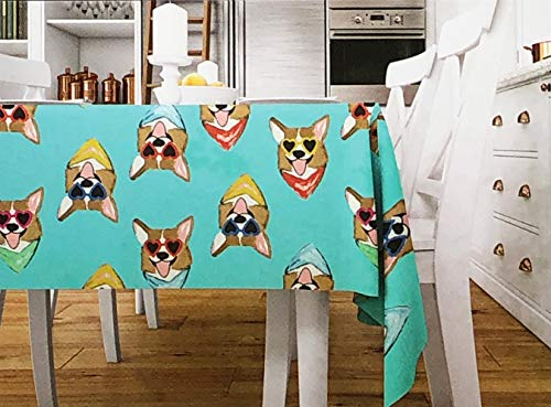 (Bouffants & Broken Hearts Tablecloth Happy Dogs with Sunglasses Hearts on a Turquoise Aqua Background Easy Care Indoor Outdoor - Corgi Love, (60 Inches by 102 Inches))