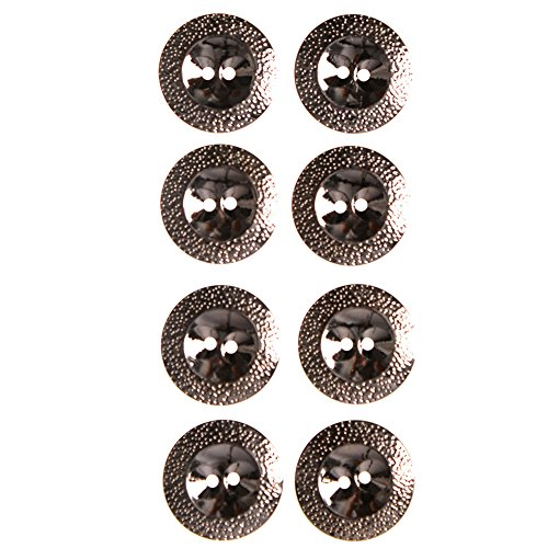 ABS Metal Plated Button with Hammered Effect 2 Hole44 Line Gunmetal