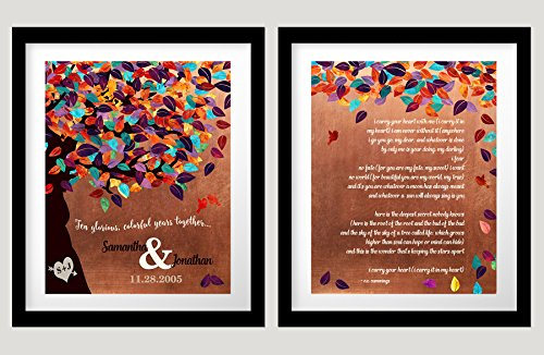2 Piece Set 8x10 Personalized 7 Year Anniversary Faux Copper Wedding Tree Poem or Wedding Vows Ten Year 1st First 2nd 10th Gift For Couple Husband Wife 8x10 Unframed Custom Art Print