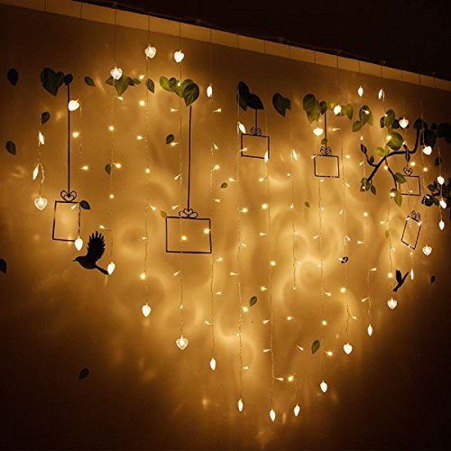 Heart Shaped Bar - LED Window Curtain String Lights with UL Listed, Landscape Lights for Wedding Party and Bedroom, Waterproof and Antifreezing Outdoor Indoor Decorations Wall Lights (Heart-Shaped)