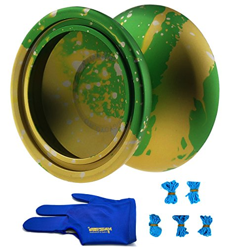 Magicyoyo & iyo Purple Line Professional Yoyo Unresponsive Yoyo (Green Splash Yellow&Silver) + Three Finger Pro Glove+5 Yoyo - Green Splash Of