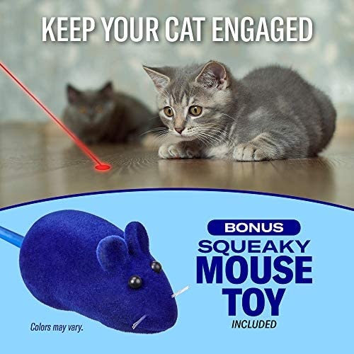 Pawsome Pets Automatic Laser Cat Toy with Free Bonus Squeaky Cat Toy Mouse   Pet Laser Pointer for Cats   Interactive Cat Chase Toys   3 Speed Modes   Auto Lazer Shut Off 6