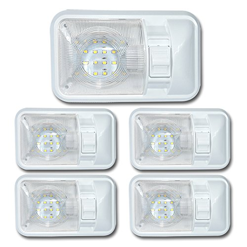 Leisure-LED-5-Pack-12V-Led-RV-Ceiling-Dome-Light-RV-Interior-Lighting-for-Trailer-Camper-with-Switch-Single-Dome-300LM-Natural-White-4000-4500K-5-Pack