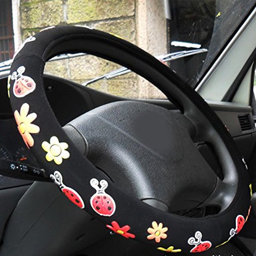 Follicomfy Automotive Embroidery Cute Car Steering Wheel Cover for Girls,Ladies And Women-Beetle -