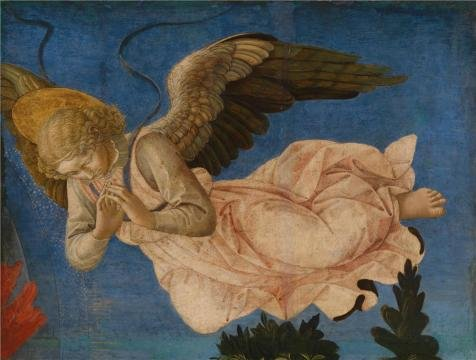 Perfect Effect Canvas ,the High Quality Art Decorative Prints On Canvas Of Oil Painting 'Francesco Pesellino And Completed By Fra Filippo Lippi And Workshop - Angel (Right Hand),1455-60', 8x11 Inch / 20x27 Cm Is Best For Bar Artwork And Home Decor And Gifts