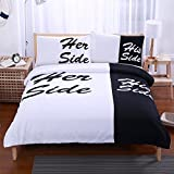 ChezMax 100% Polyester Fiber 3 PCS Solid Color Bedding Set Modern Brief Style Quilt Duvet Cover Bedspread 2 Pieces Sleeping Pillow Cases Sham Slip Slipovers Black and White Queen