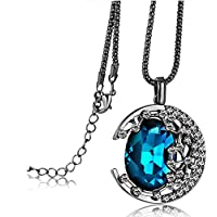 E.a@market Fashion Moon Pendant Long Necklace Women Sweater Chain (Blue)