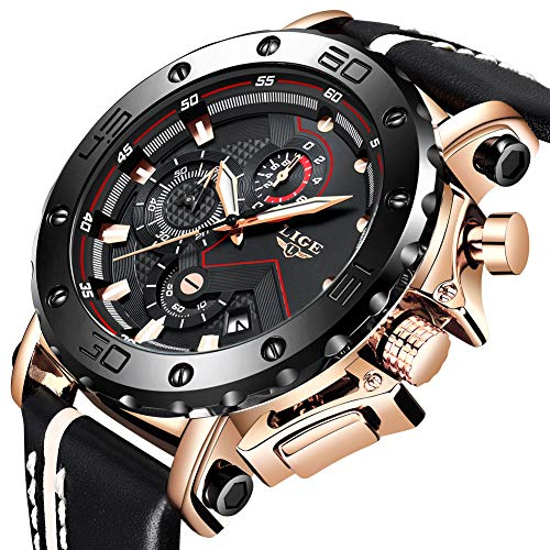 Watches Men LIGE Military Sports Chronograph Waterproof Wrist Watch Analog Quartz Gents with Date/Calendar Black Classic Leather Watch