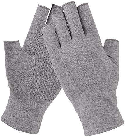 BAJIMI UVカット手袋 手触りが良い ファッションUPF50 +男性と女性の薄いセクションの綿の半分の指の指なしスリップオンライダー日焼け止め手袋 夏 ハンド ケア レディース/メンズ (Color : BLACK, Size : XL)