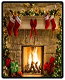 Custom Peaceful Christmas Eve Fireplace 40 inches x 50 inches (Small) soft Fleece Blanket