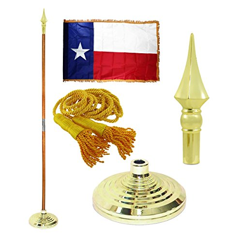 - Texas 3ft x 5ft Flag, Flagpole, Base, and Tassel (Spear Plastic, 8 Ft Pole)