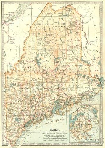 Amazon Com Maine Inset Mount Desert Island 1903 Old Map