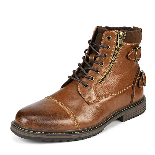 Bruno Marc Men's Philly_10 Camel Dress Combat Motorcycle Oxfords Boots Size 6.5 M US ()