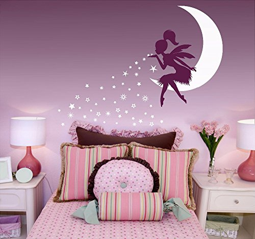wildwestliving Wall Sticker Fairy Blowing Stars Wall Decal Nursery Fairy Decor Vinyl Babys Room Sticker Kids Bedroom Fairy On Moon Decal AY0152 -