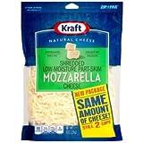 Kraft Zip Pak Shredded Mozzarella Cheese, 8 Ounce -- 12 per case.