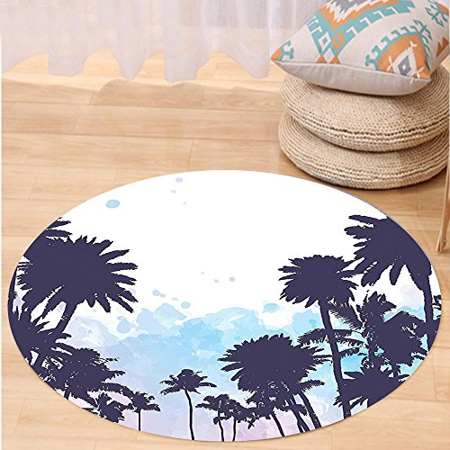 VROSELV Custom carpetApartment Decor Miami South American Plant Forest Tropic Natural Palm Trees Art Print for Bedroom Living Room Dorm Blue and White Round 79 inches (Furniture Rattan Miami Repair)