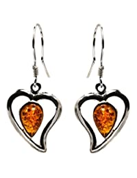 Sterling Silver Amber Hearts Earrings