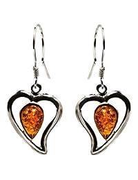 Sterling Silver Amber Hearts Earrings