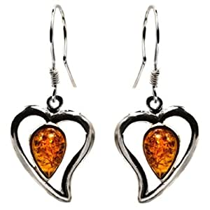 Sterling silver amber hearts earrings jewelry for Selling jewelry on amazon