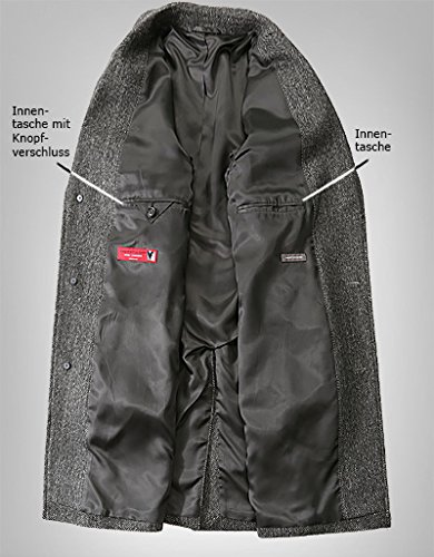 RENÉ LEZARD Herren Mantel Schurwolle Warme Jacke Gemustert, Größe: 98, Farbe: Grau