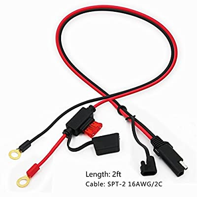 KUNCAN 2FT SAE to O Ring Terminal Harness Wire 2 Pin Lug Cable, Eyelet Terminal Harness Extension Charge Cord, Quick Disconnect SAE Connection Lead For Motorcycle, Car, Tractor 10A Fuse: Automotive