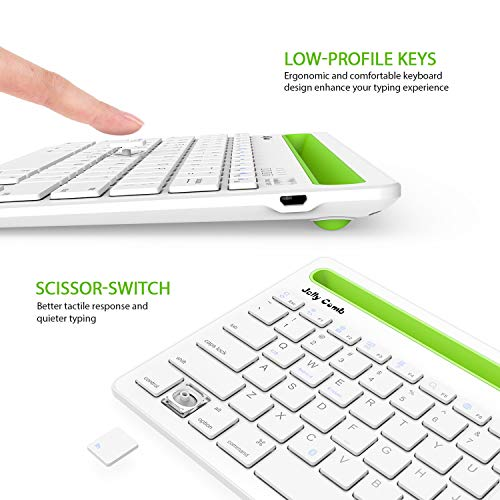 8a5ebe30f80 Bluetooth Keyboard, Jelly Comb BK230 Dual Channel Multi-Device Universal  Wireless Bluetooth Rechargeable Keyboard