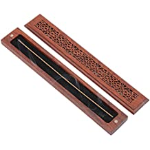 Incense Stick Holder and Equipped with Fireproof Cotton for Burning Out Safely, Redwood Handmade, Design Magnet Switch and Cover Carved Pattern, Size:9.53x1.38x0.87 Inches (Flowers Models)