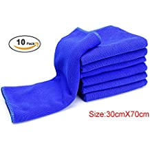 Enterest Washing towel Nano-super fiber towel for Car Wash, Car Wax, Kitchen Clean, Beauty Care 30x70cm (11.81x27.56 inches) Pack of 10 Color in Blue Microfiber Car Wash Drying Towels