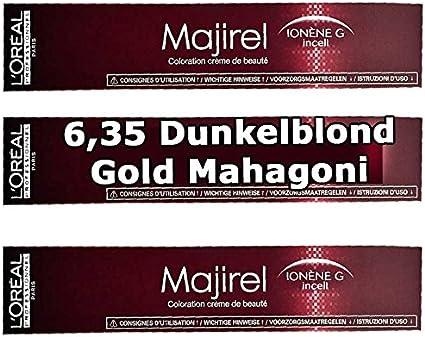 3 x Loreal majirel 6,35 Rubio Oscuro Oro caoba Crema Color del pelo – 50 ml