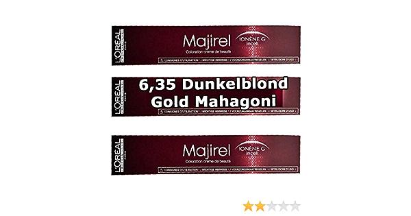 3 x Loreal majirel 6,35 Rubio Oscuro Oro caoba Crema Color ...