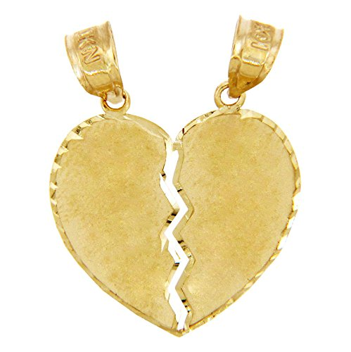 10k Yellow Gold Satin Finish Breakable Heart Charm Pendant, 0.8