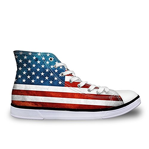 chaqlin Round Toe Canvas Skate Shoe Hi Top American Flag Women's Lace Up Sneaker Size 42