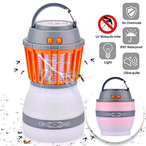 Price comparison product image SSeir 2-in-1 Tent Light,  Bug Zapper & Camping Lantern,  Waterproof and USB Rechargeable / Retractable Hook and Removable Lampshade for Indoor and Outdoor Hiking