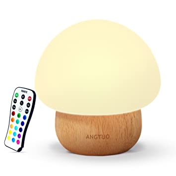 Night Lights For Kids, ANGTUO Baby LED Mushroom Night Lamp, Soft Silicone  Lampshape,
