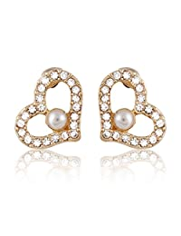 JewelCool Crystal Open Heart Surgical Steel Posts Stud Earring w/ Pearl Like Design in the Center