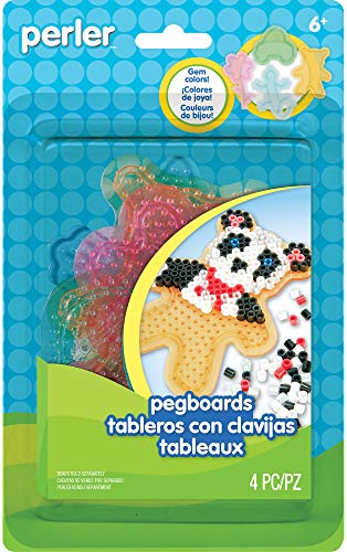 Perler Beads for Kids Crafts Clear Pegboards Fun Shapes, 4pc.
