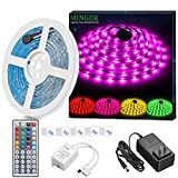 Musical Instruments : MINGER LED Strip Light Waterproof 16.4ft RGB SMD 5050 LED Rope Lighting Color Changing Full Kit with 44-keys IR Remote Controller & Power Supply Led Strip Lights for Home Kitchen Bed Room Decoration