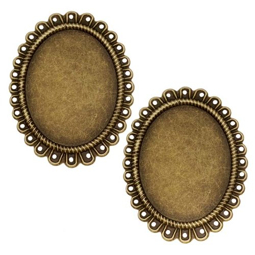 40mm Pendant Bead (Beadaholique Antiqued Brass Bezel Frame For Cabochons No Loop 30x40mm (2))