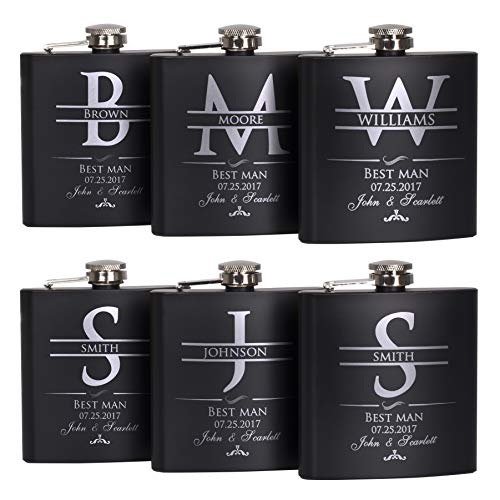 P Lab Set Of 6 - Groomsmen Gift - Groomsman Gifts For Wedding, Wedding Favor Customized Flask Set w Optional Gift Box - Engraved 6oz Stainless Steel Flask Custom Personalized Flask Gift Set, Black #2]()