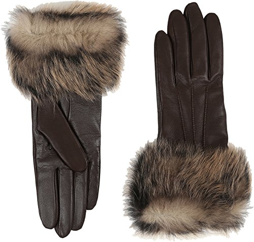 UGG Women's Three Point Long Toscana Trim Leather Smart Gloves Brown Multi MD