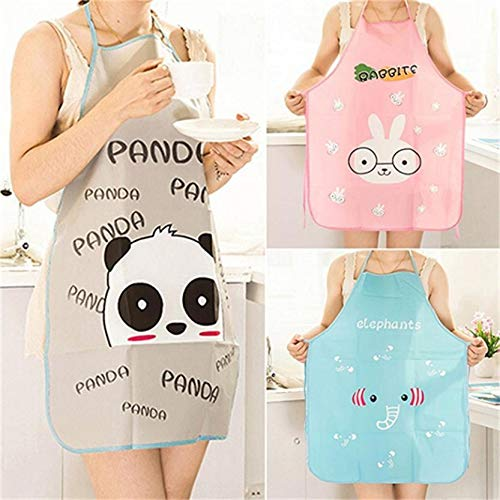 Lovewe Women Man Apron Adjustable Waterproof Cartoon Kitchen Durable Cooking Bib Apron PVC 70cmx50cm for Women Men Adults (Pink) by Lovewe_Kitchen Tool (Image #3)